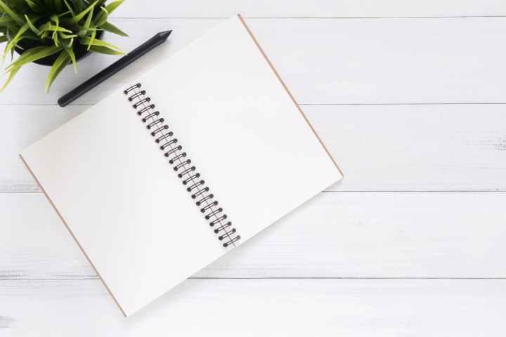 white blank notebook